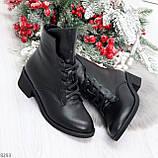 Крутые повседневные женские черные ботинки на шнуровке из натуральной кожи, фото 8