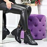 Крутые повседневные женские черные ботинки на шнуровке из натуральной кожи, фото 9