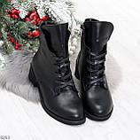 Крутые повседневные женские черные ботинки на шнуровке из натуральной кожи, фото 10
