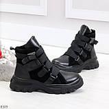 Модные черные зимние ботинки натуральная кожа на молнии + фиксатор 36-23см, фото 3