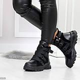 Модные черные зимние ботинки натуральная кожа на молнии + фиксатор 36-23см, фото 5
