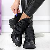 Модные черные зимние ботинки натуральная кожа на молнии + фиксатор 36-23см, фото 6