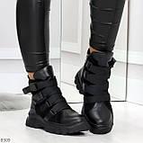 Модные черные зимние ботинки натуральная кожа на молнии + фиксатор 36-23см, фото 7