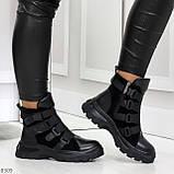 Модные черные зимние ботинки натуральная кожа на молнии + фиксатор 36-23см, фото 8