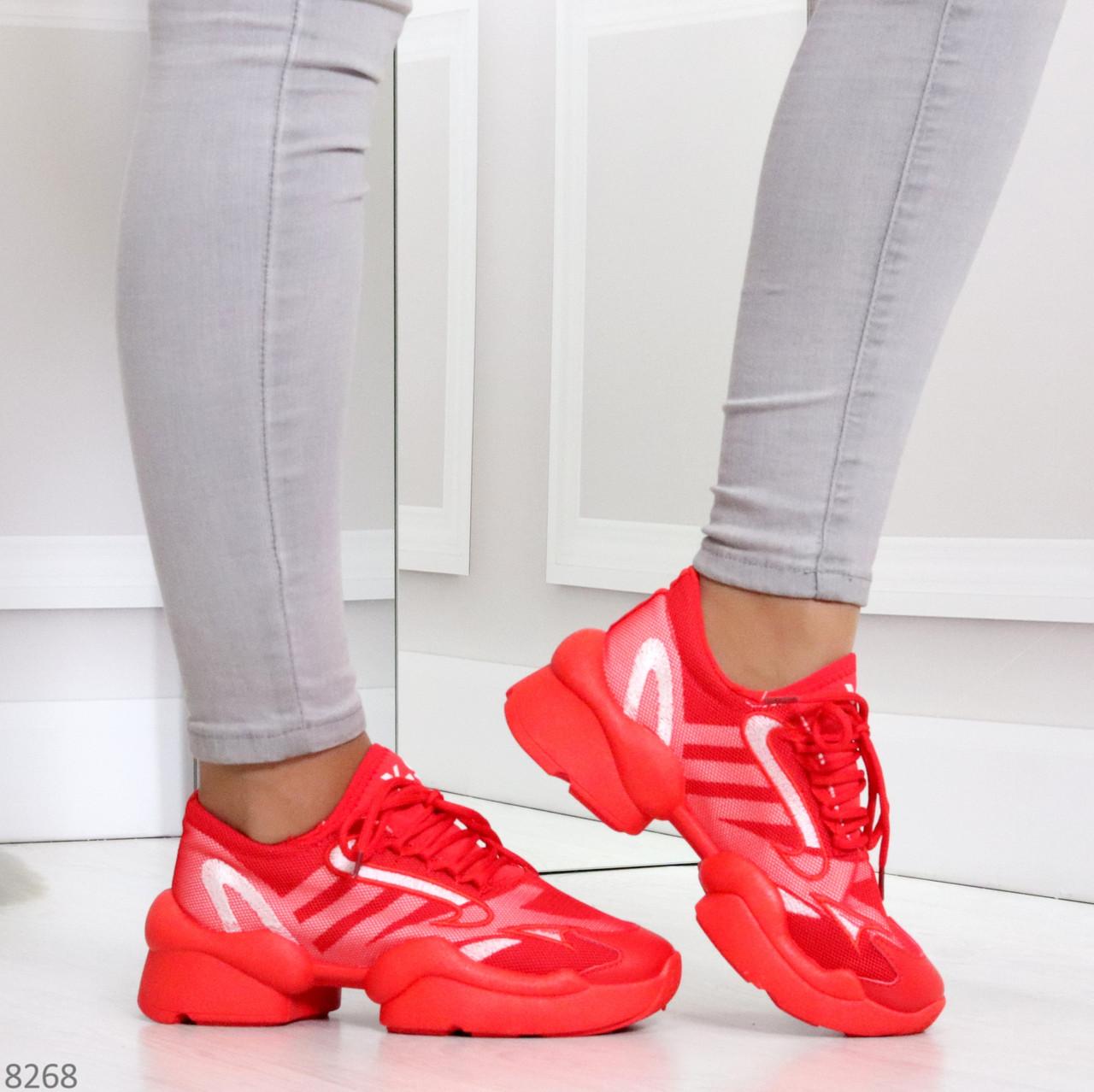 Яркие повседневные текстильные красные женские кроссовки на шнуровке