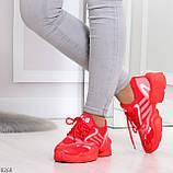 Яркие повседневные текстильные красные женские кроссовки на шнуровке, фото 3