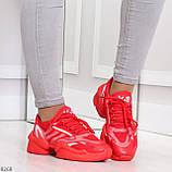 Яркие повседневные текстильные красные женские кроссовки на шнуровке, фото 4