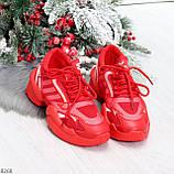 Яркие повседневные текстильные красные женские кроссовки на шнуровке, фото 7