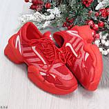 Яркие повседневные текстильные красные женские кроссовки на шнуровке, фото 8