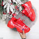 Яркие повседневные текстильные красные женские кроссовки на шнуровке, фото 9