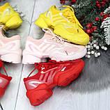 Яркие повседневные текстильные красные женские кроссовки на шнуровке, фото 10