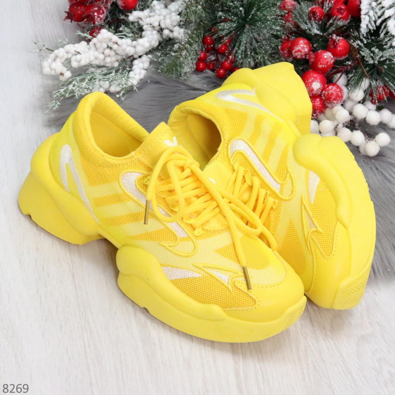 Яркие повседневные текстильные желтые женские кроссовки на шнуровке
