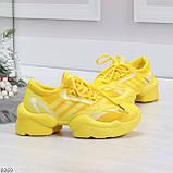 Яркие повседневные текстильные желтые женские кроссовки на шнуровке, фото 2
