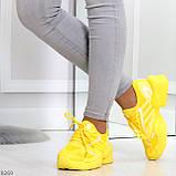 Яркие повседневные текстильные желтые женские кроссовки на шнуровке, фото 3