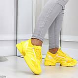 Яркие повседневные текстильные желтые женские кроссовки на шнуровке, фото 5