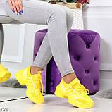 Яркие повседневные текстильные желтые женские кроссовки на шнуровке, фото 6