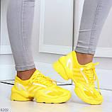 Яркие повседневные текстильные желтые женские кроссовки на шнуровке, фото 8