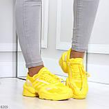 Яркие повседневные текстильные желтые женские кроссовки на шнуровке, фото 9