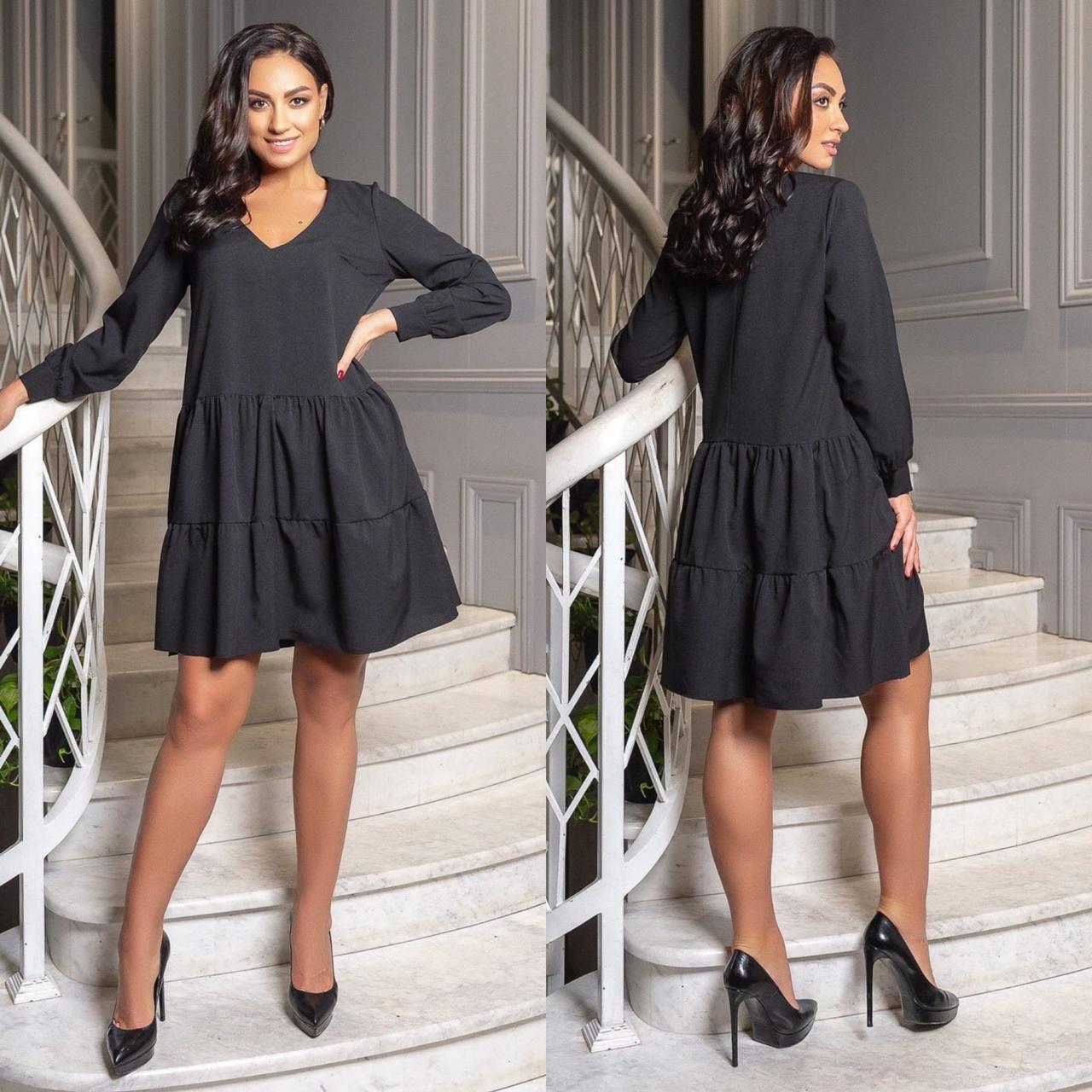 Женское повседневное платье черное 8435