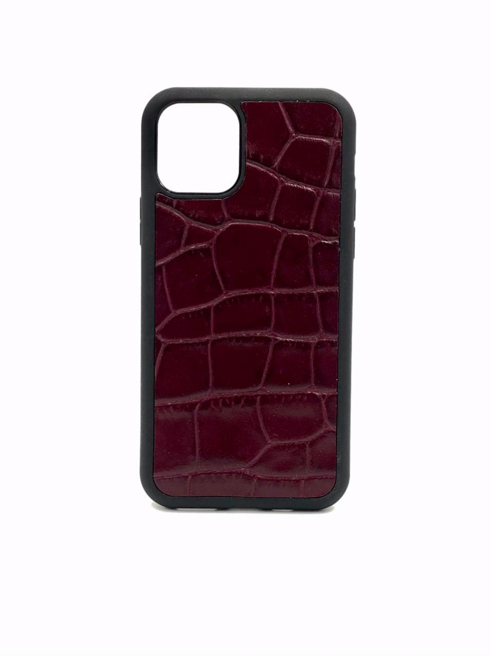 Чехол для iPhone 11 бордового цвета из Телячьей кожи тиснёной под Крокодила