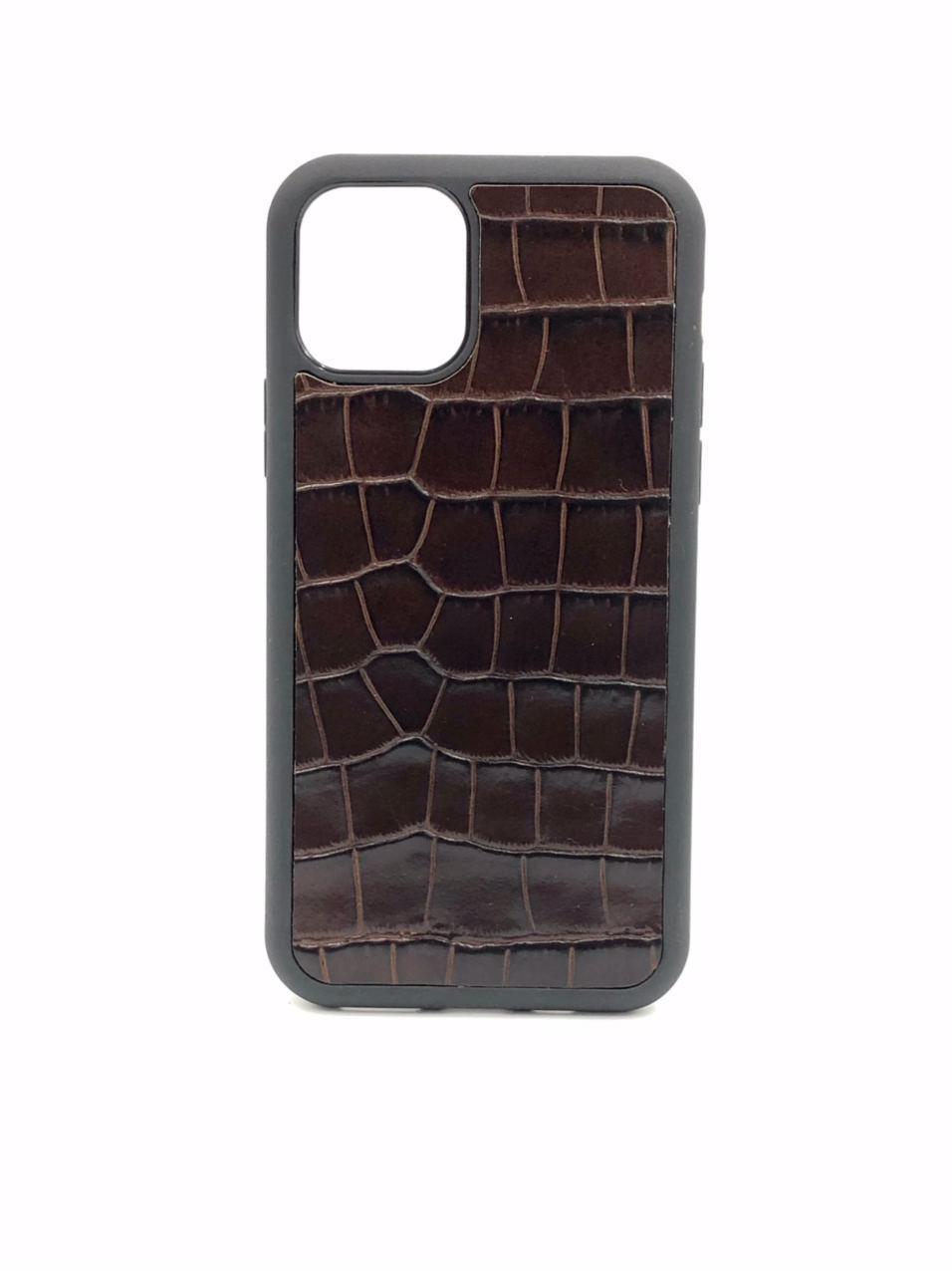 Чехол для iPhone 11 тёмно-коричневого цвета из Телячьей кожи тиснёной под Крокодила