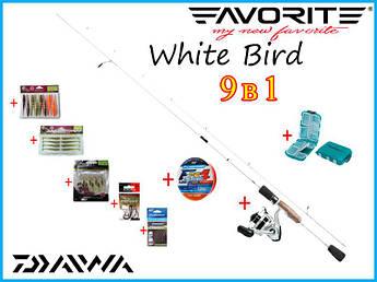 Набор для ловли окуня 9в1 Спиннинг Favorite WhiteBird + Катушка Daiwa Sweepfire + Шнур +++