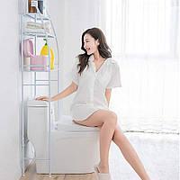 Стеллаж в туалет над унитазом, белая металлическая, высота 165 см., этажерка для туалета | органайзер в