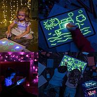 Набор для творчества Рисуй светом А3, рисунки светом в темноте, детский набор для рисования светом А3