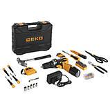 Аккумуляторный шуруповерт DEKO + набор 104 инструментов в кейсе, фото 3