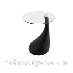 Столик журнальный дизайнерский SDM Перла пластик столешница круглая стекло 50 см Черный (hub_67n64r)