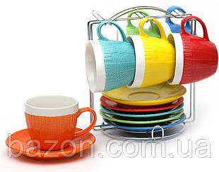 """Чайний набір """"Плетений орнамент"""" 6 чашок 275мл і 6 блюдець на підставці (яскравий)"""