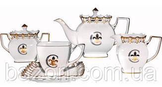 """Чайно-кавовий сервіз """"Золота Лілія"""" 15 предметів на 6 персон, фарфор, 230мл"""