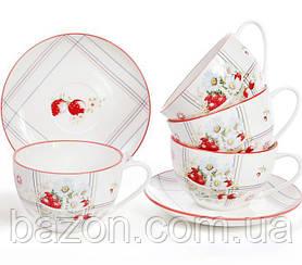 """Чайний порцеляновий набір """"Сунична фантазія"""" 6 чашок 210мл з блюдцями (12 предметів)"""