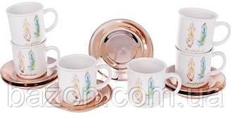 """Чайний набір Плюмаж """"Перо жар-птиці"""" 6 чашок з блюдцями 250мл"""
