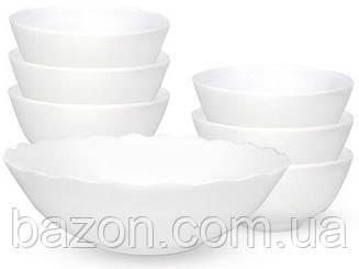 Набір White Waves великий салатник 1л і 6 салатників 260мл, склокераміка
