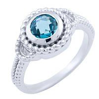 Серебряное кольцо DreamJewelry с натуральным топазом Лондон Блю (1655313) 18 размер, фото 1