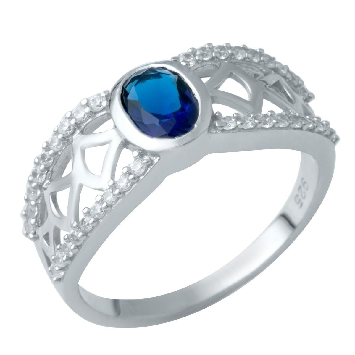 Серебряное кольцо DreamJewelry с сапфиром nano (1946572) 18 размер