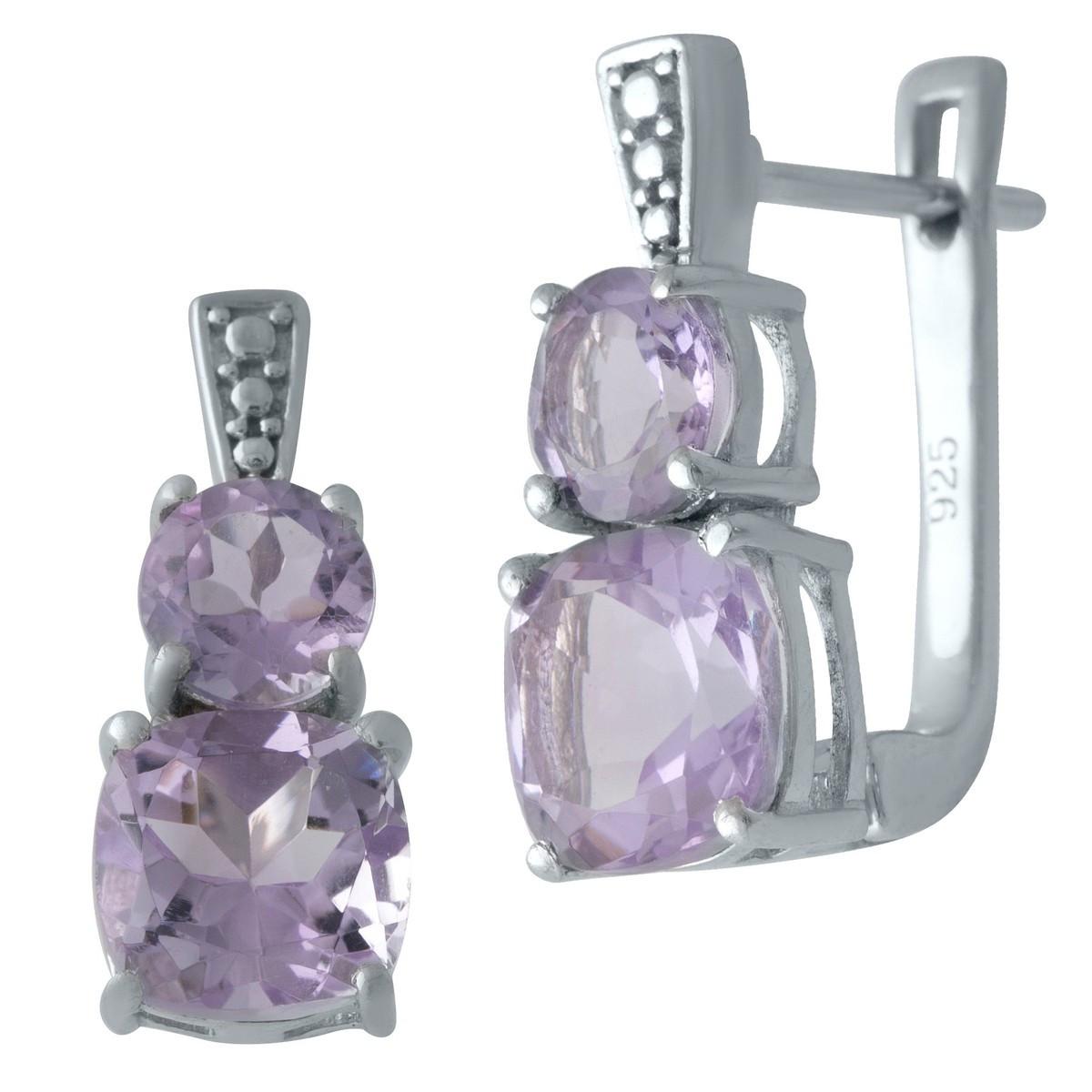 Серебряные серьги DreamJewelry с натуральным аметистом (2007234)