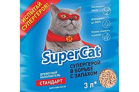 Наповнювач деревне SuperCat (Суперкет) Стандарт без аромату 1кг для котячого туалету