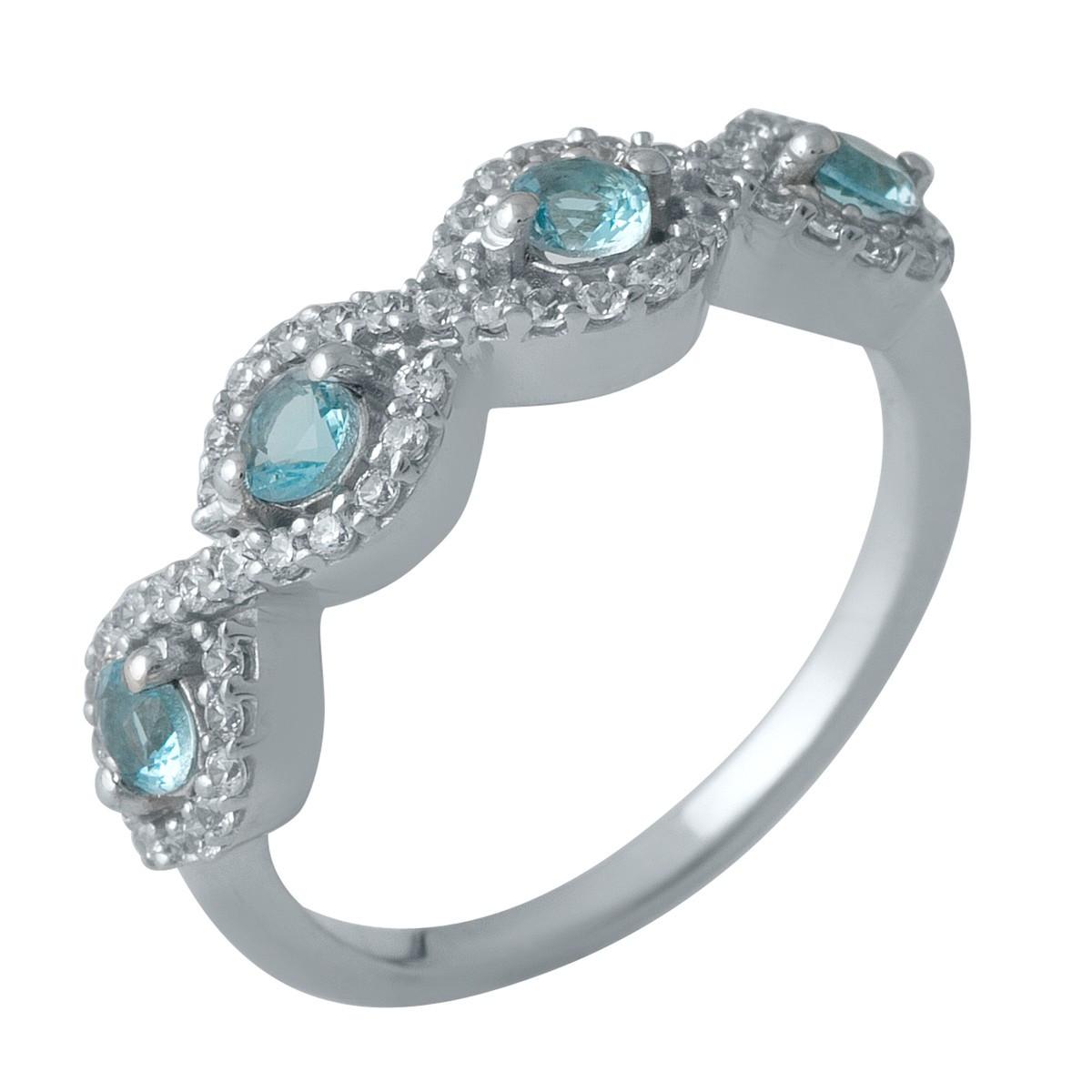 Серебряное кольцо DreamJewelry с аквамарином nano (1988732) 18 размер