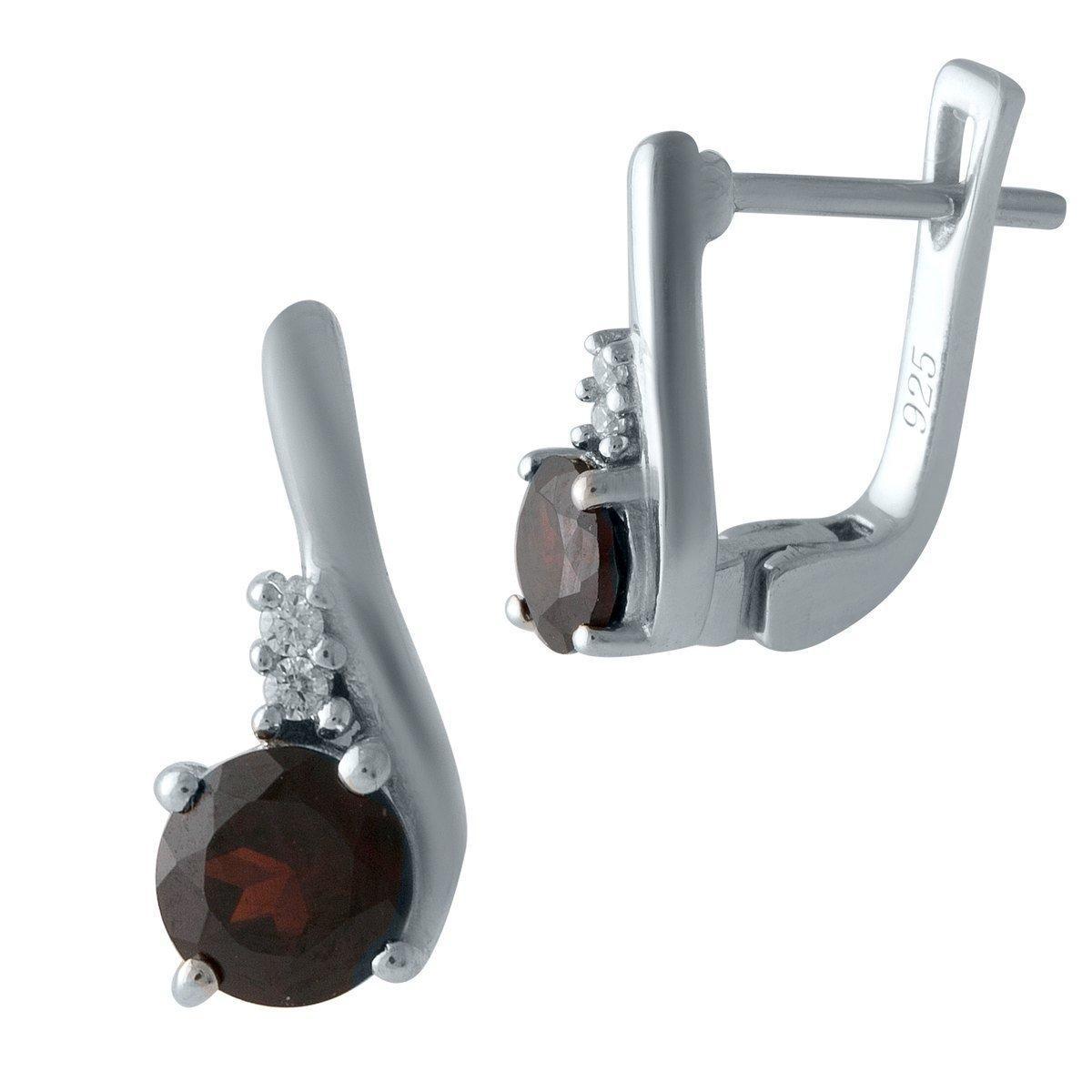 Серебряные серьги DreamJewelry с натуральным гранатом (1996652)