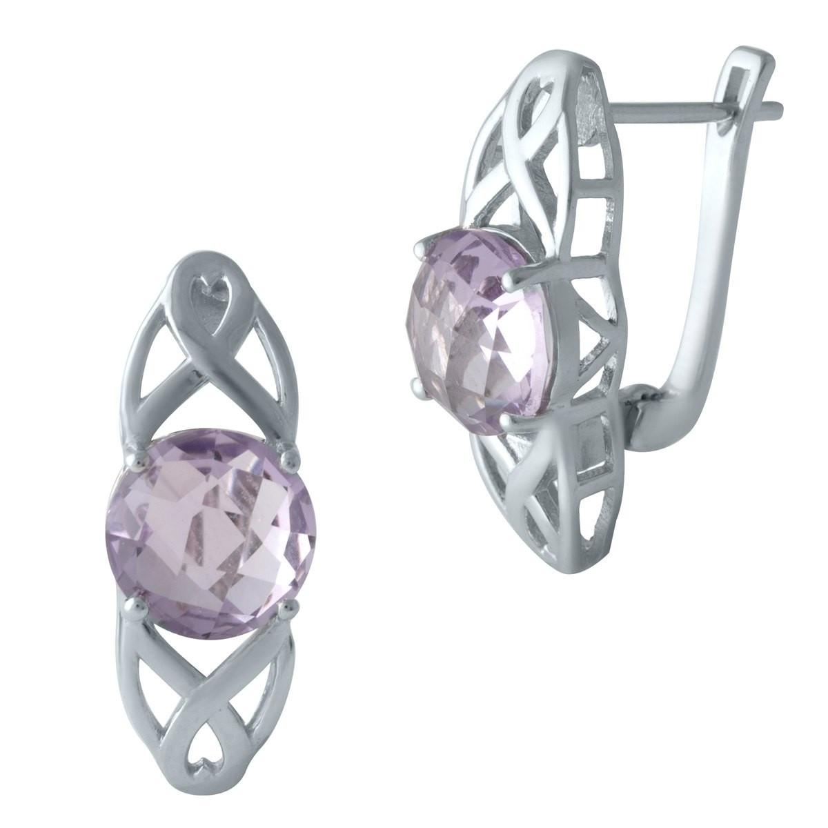 Срібні сережки DreamJewelry з натуральним аметистом (1996805)