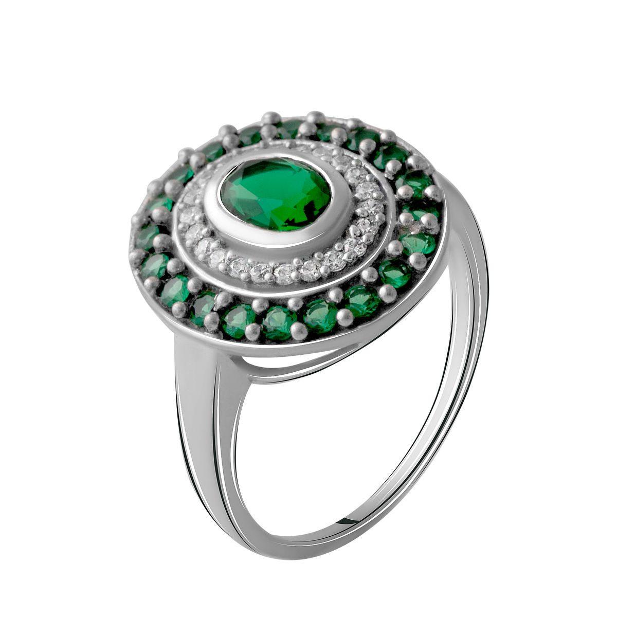 Серебряное кольцо DreamJewelry с изумрудом nano (2064671) 18.5 размер