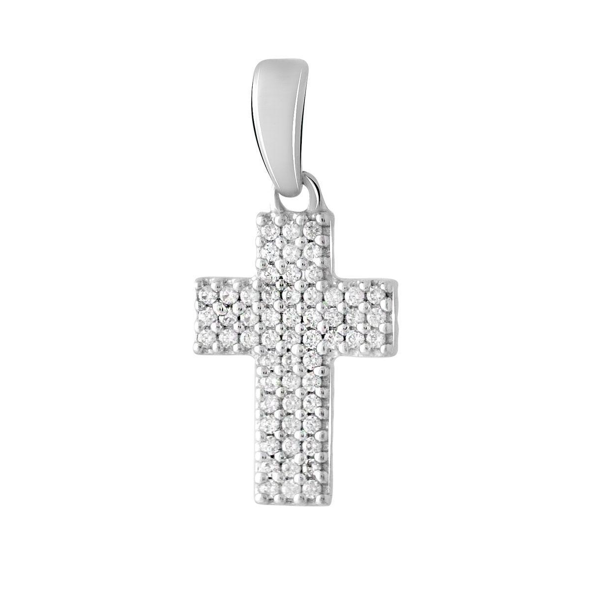 Срібний хрестик DreamJewelry з фіанітами (2064848)