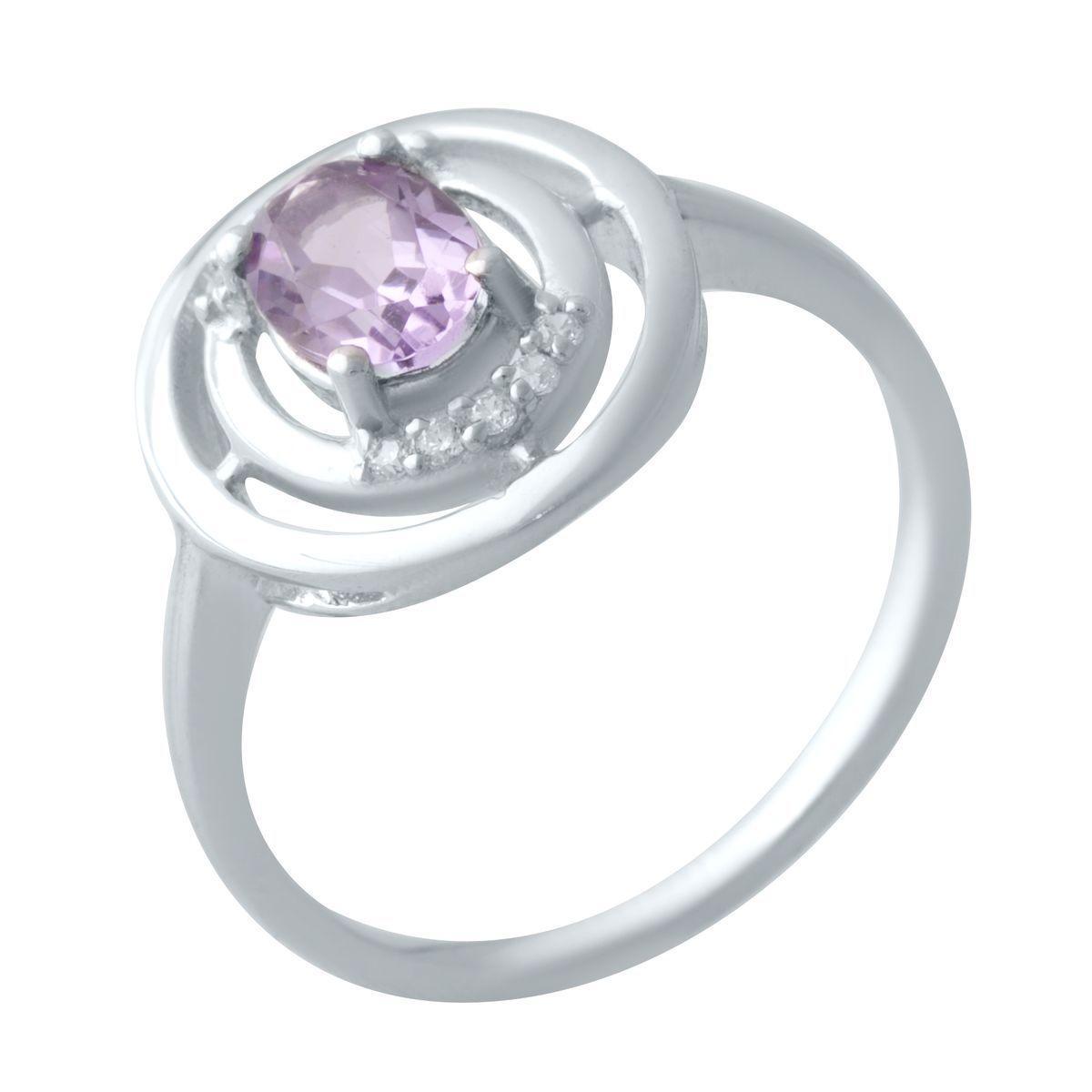 Срібне кільце DreamJewelry з натуральним аметистом (2020745) 17.5 розмір