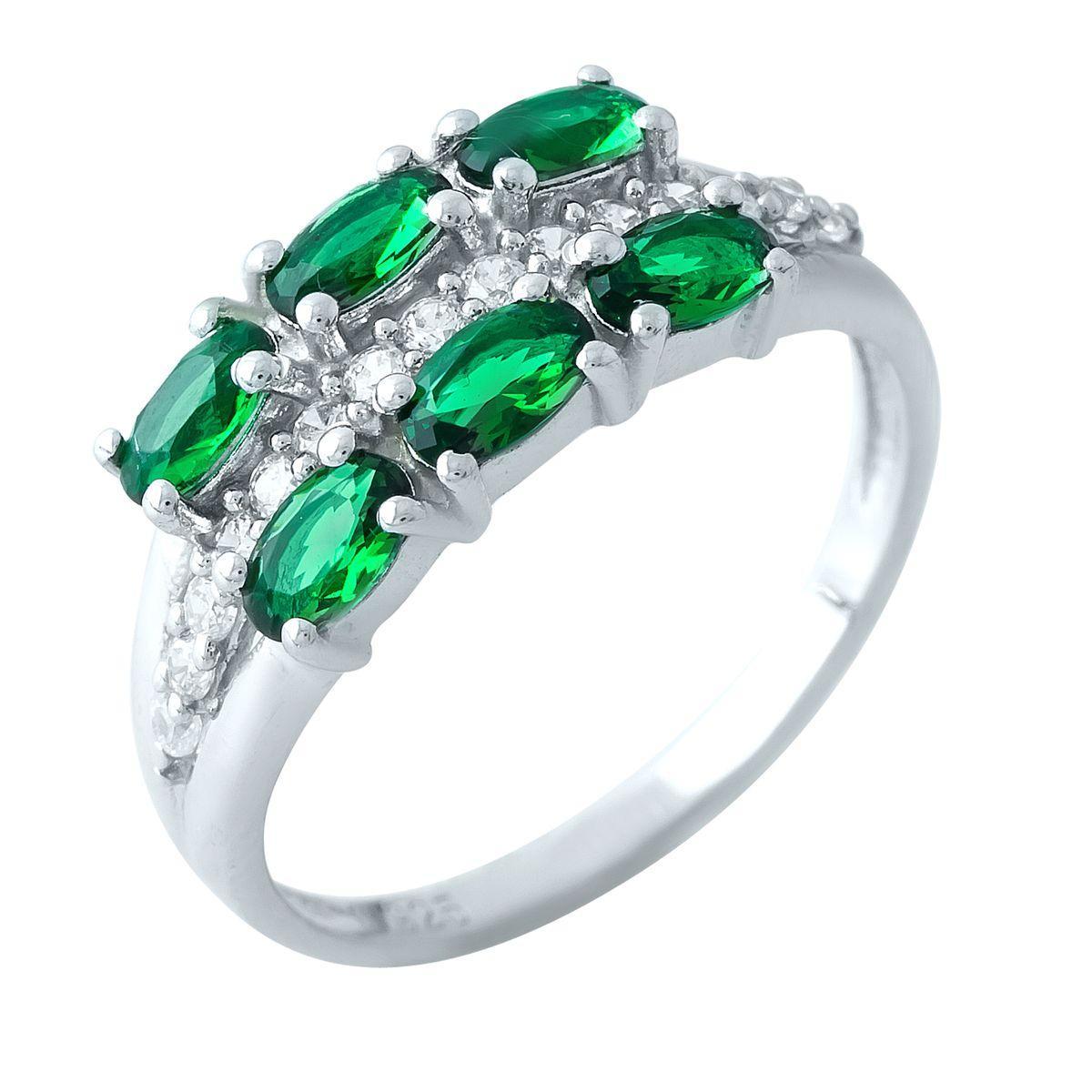 Серебряное кольцо DreamJewelry с изумрудом nano (1966488) 18 размер