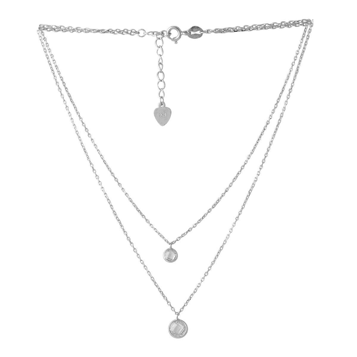 Серебряное колье DreamJewelry с фианитами (2052784) 450 размер