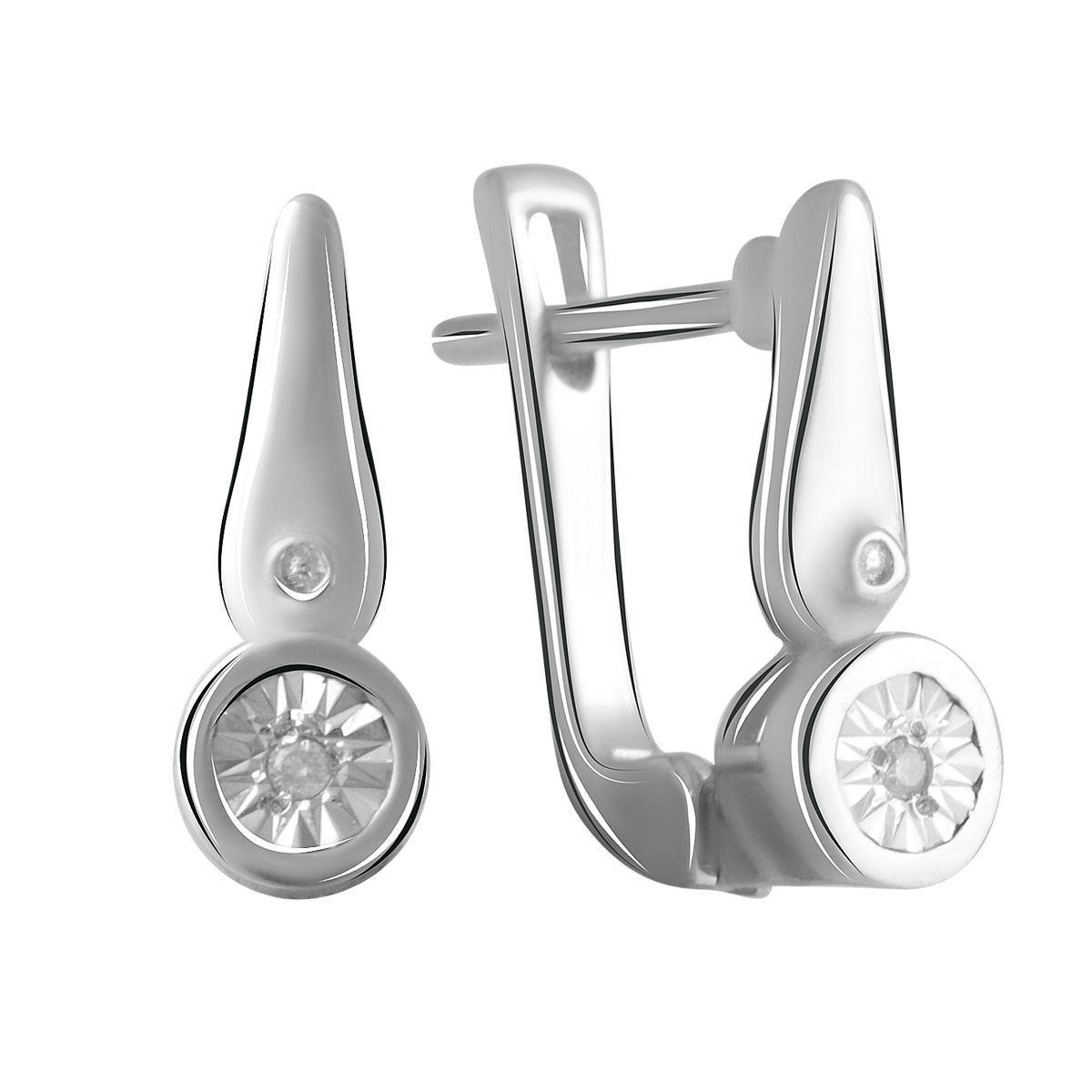 Серебряные серьги DreamJewelry с натуральными бриллиантом 0.018ct (2042235)