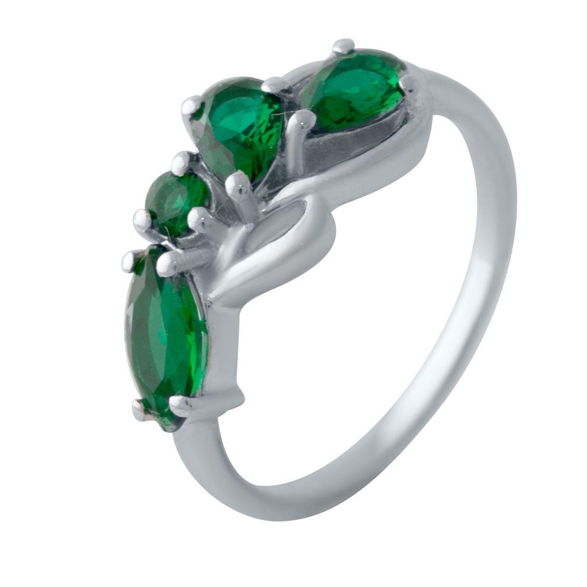 Серебряное кольцо DreamJewelry с изумрудом nano (2028567) 17.5 размер