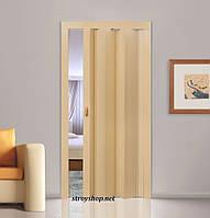 Двері гармошка Клен Folding міжкімнатні, глухі, складні, розсувні, пластикові, приховані